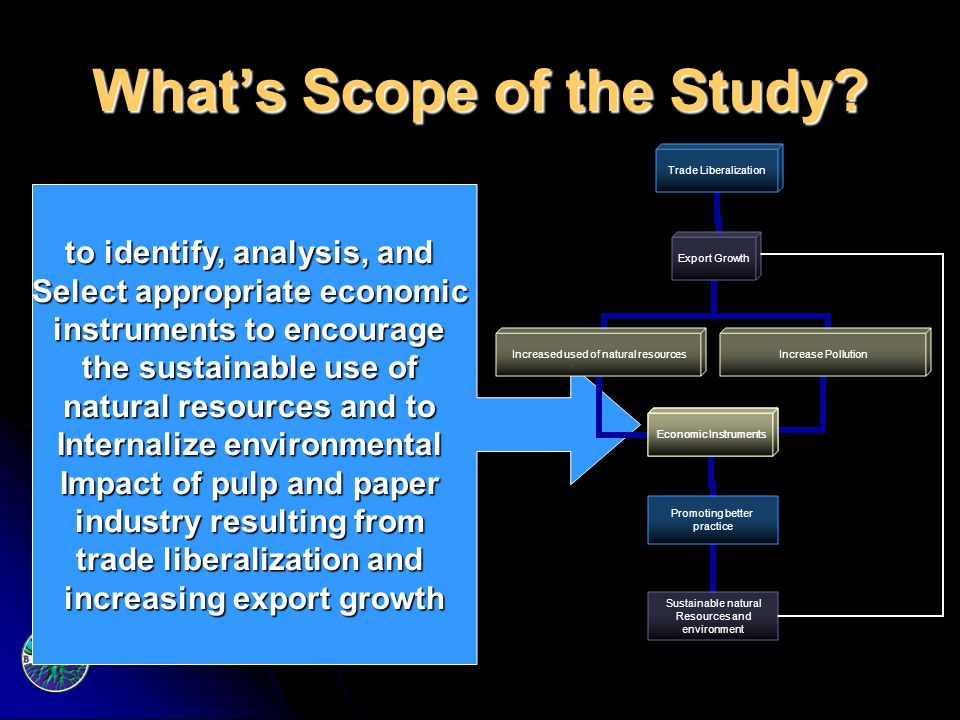 to identify, analysis, and Select appropriate economic instruments to encourage the sustainable use of natural resources and to Internalize environmental Impact of pulp and paper industry resulting from trade liberalization and increasing export growth What's Scope of the Study?