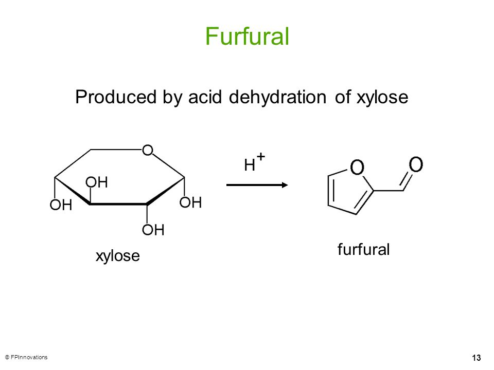 13 © FPInnovations Furfural H + xylose furfural Produced by acid dehydration of xylose