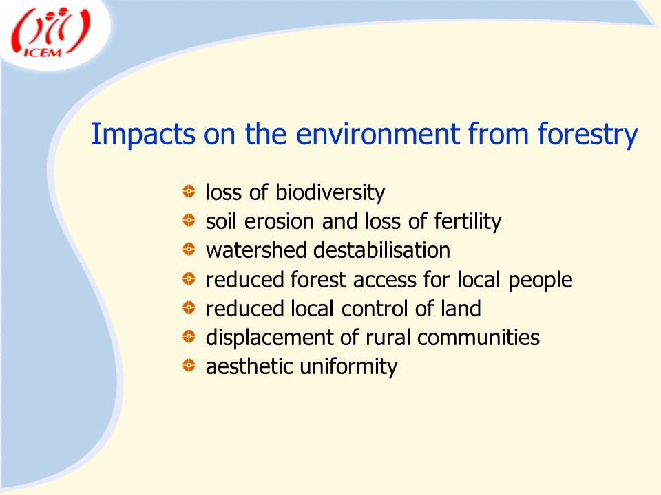 Impacts on the environment from forestry loss of biodiversity soil erosion and loss of fertility watershed destabilisation reduced forest access for local people reduced local control of land displacement of rural communities aesthetic uniformity
