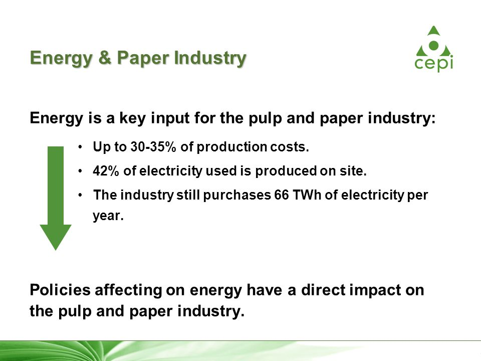 16 Energy & Paper Industry Energy is a key input for the pulp and paper industry: Up to 30-35% of production costs.