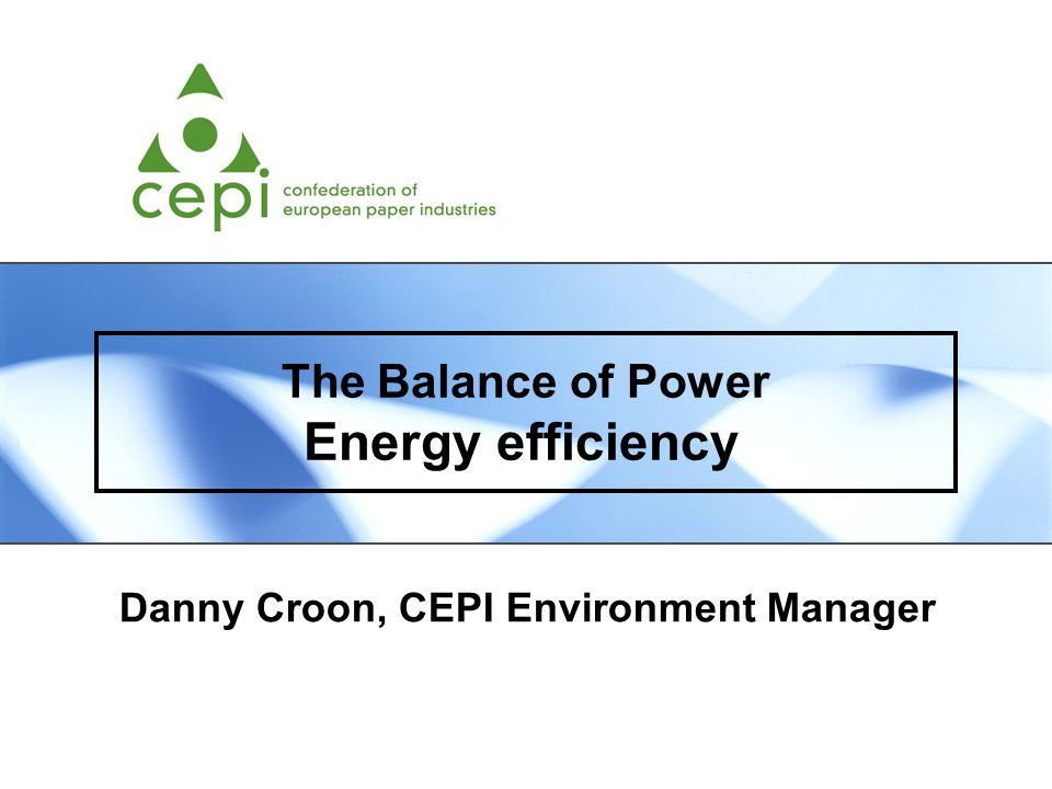 The Balance of Power Energy efficiency Danny Croon, CEPI Environment Manager