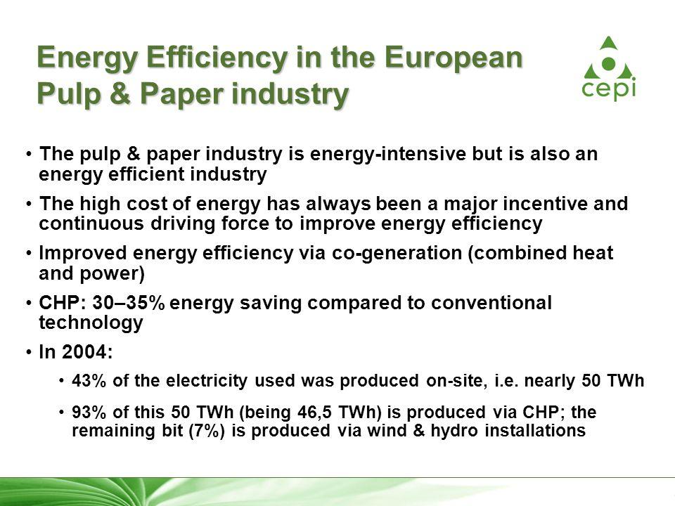 26 Energy Efficiency in the European Pulp & Paper industry The pulp & paper industry is energy-intensive but is also an energy efficient industry The