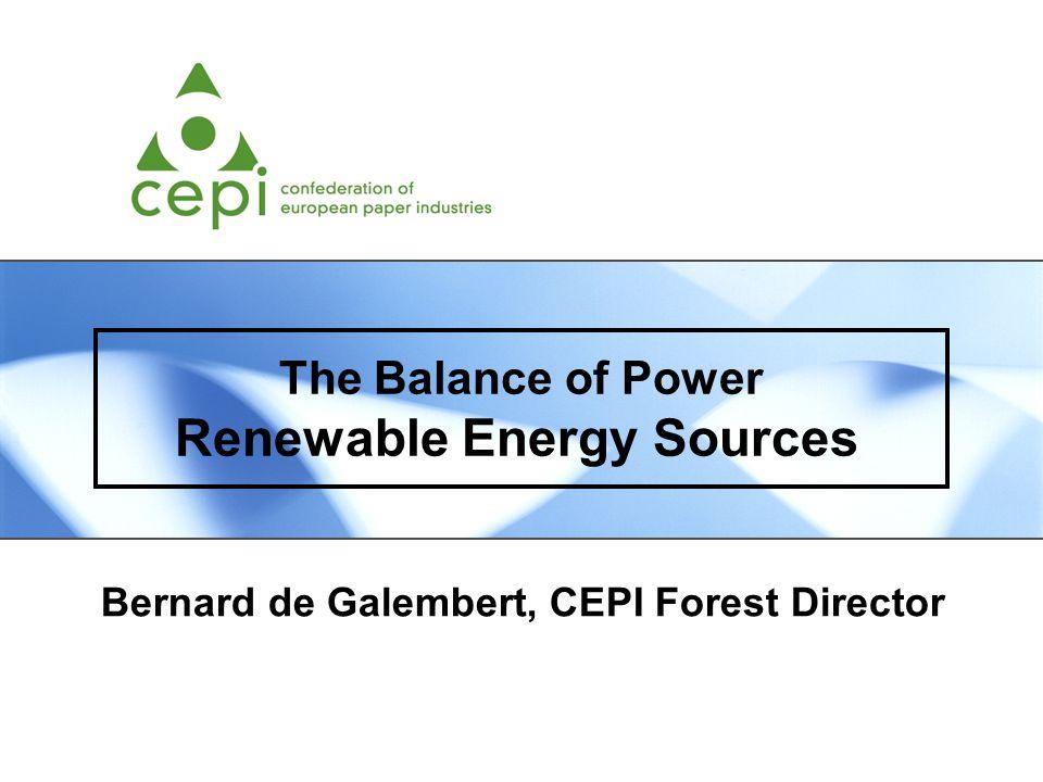 The Balance of Power Renewable Energy Sources Bernard de Galembert, CEPI Forest Director