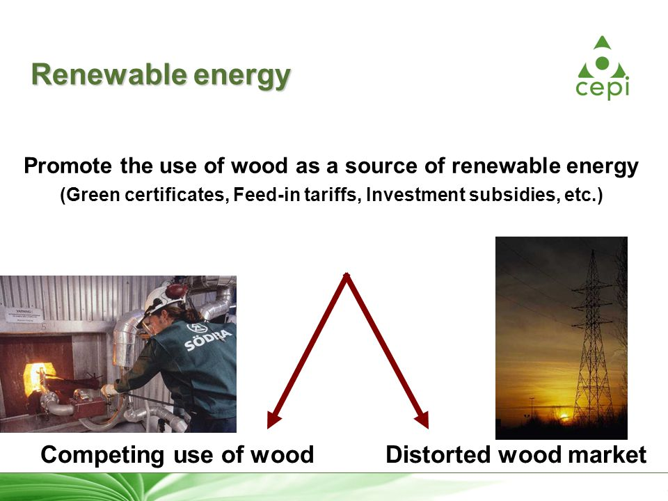 8 Renewable energy Promote the use of wood as a source of renewable energy (Green certificates, Feed-in tariffs, Investment subsidies, etc.) Competing