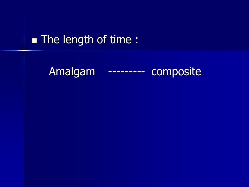 The length of time : The length of time : Amalgam --------- composite Amalgam --------- composite