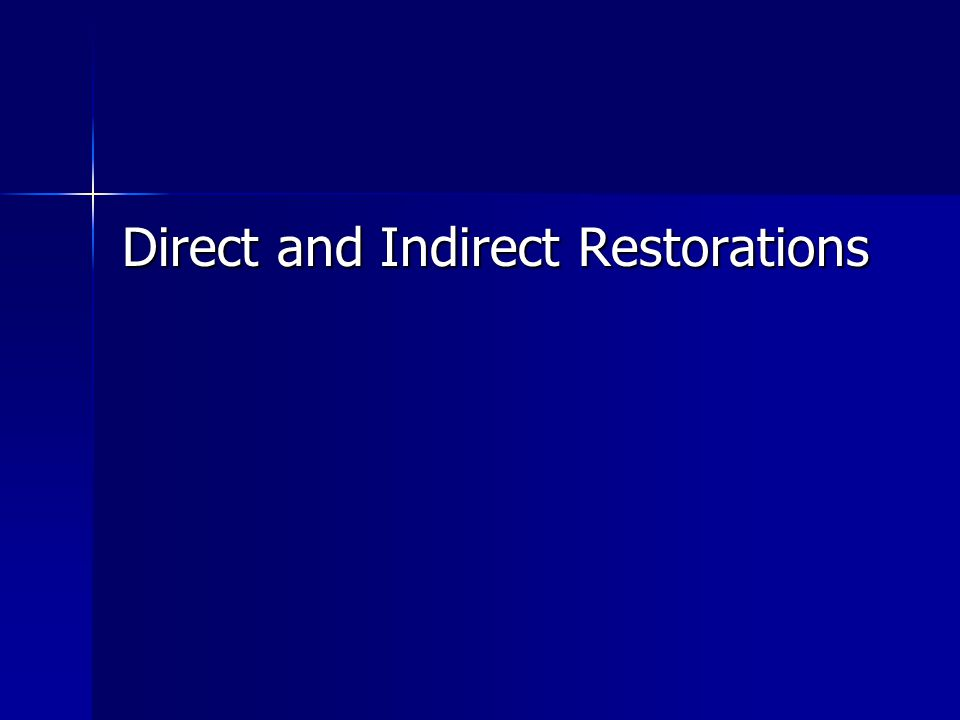 Direct and Indirect Restorations