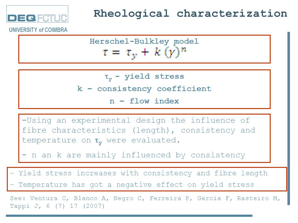 Rheological characterization  y - yield stress k – consistency coefficient n – flow index UNIVERSITY of COIMBRA -Using an experimental design the influence of fibre characteristics (length), consistency and temperature on  y were evaluated.