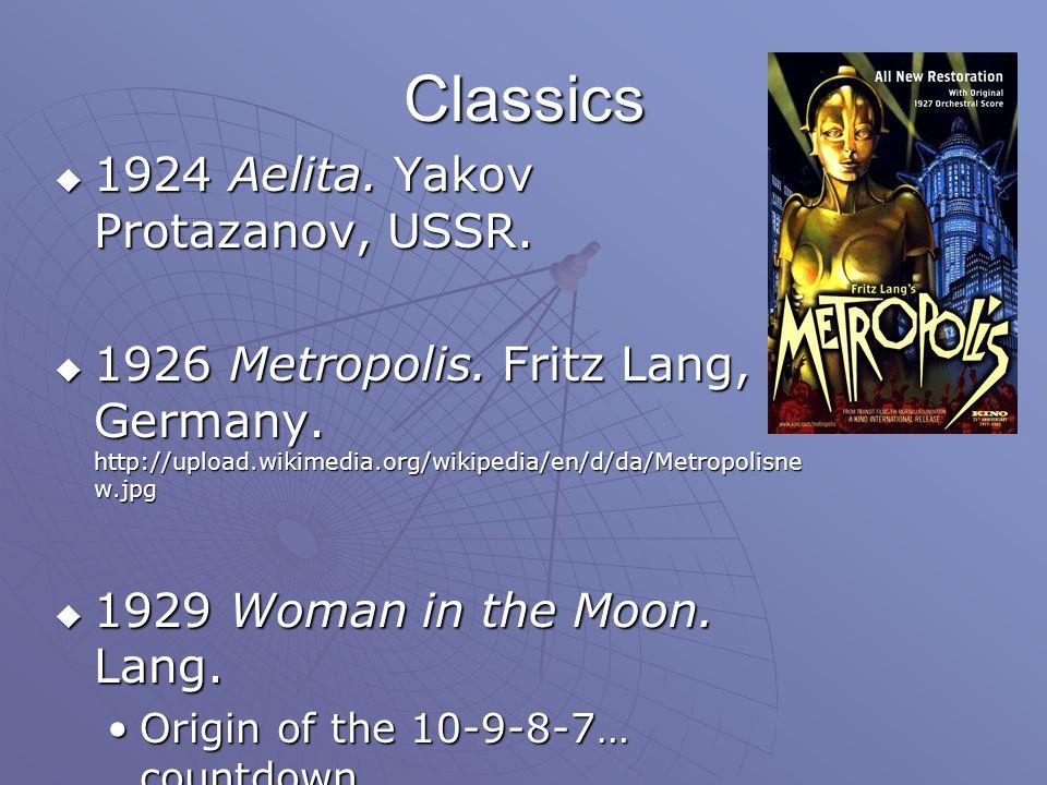 Classics  1924 Aelita. Yakov Protazanov, USSR.  1926 Metropolis.