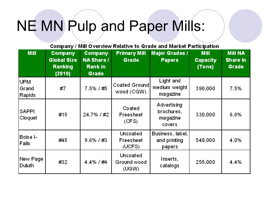 NE MN Pulp and Paper Mills: