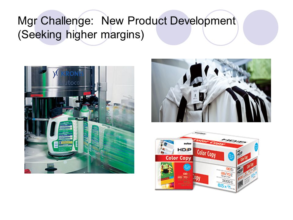 Mgr Challenge: New Product Development (Seeking higher margins)