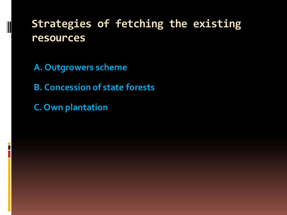 Strategies of fetching the existing resources A. Outgrowers scheme B.