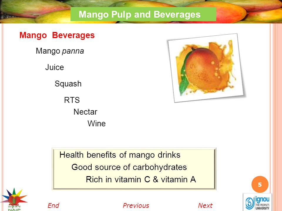6 Mango Pulp and Beverages Mango panna Tasty summer drink made from green mangoes.