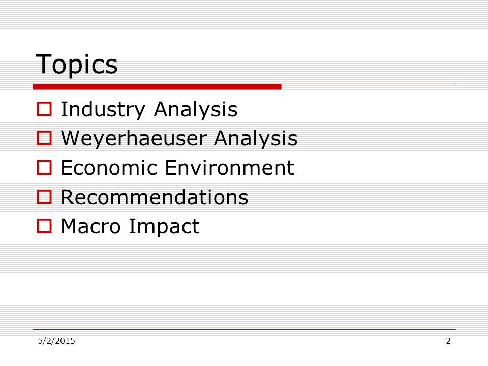 5/2/20152 Topics  Industry Analysis  Weyerhaeuser Analysis  Economic Environment  Recommendations  Macro Impact