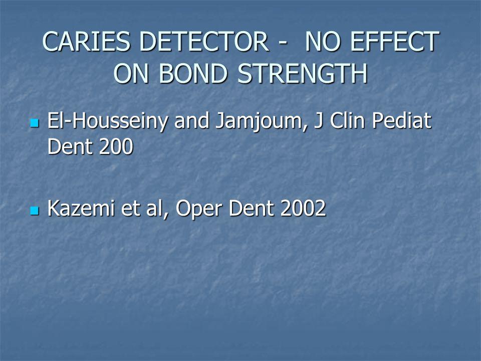 CARIES DETECTOR - NO EFFECT ON BOND STRENGTH El-Housseiny and Jamjoum, J Clin Pediat Dent 200 El-Housseiny and Jamjoum, J Clin Pediat Dent 200 Kazemi et al, Oper Dent 2002 Kazemi et al, Oper Dent 2002