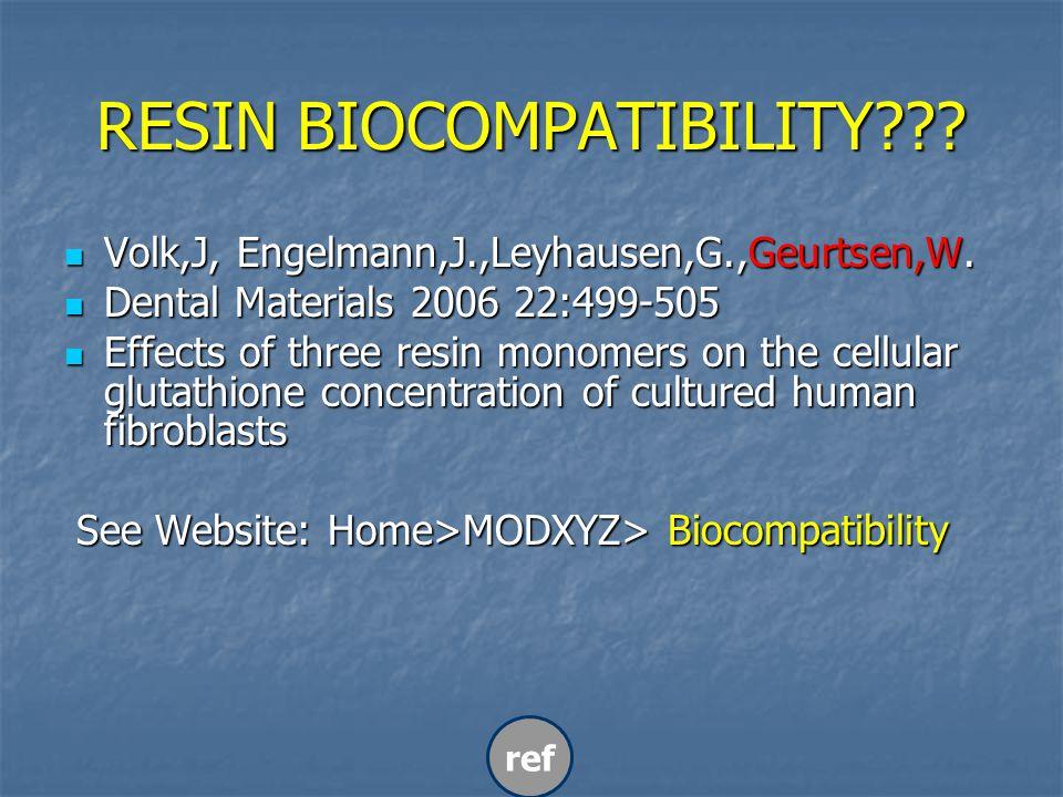 RESIN BIOCOMPATIBILITY . Volk,J, Engelmann,J.,Leyhausen,G.,Geurtsen,W.
