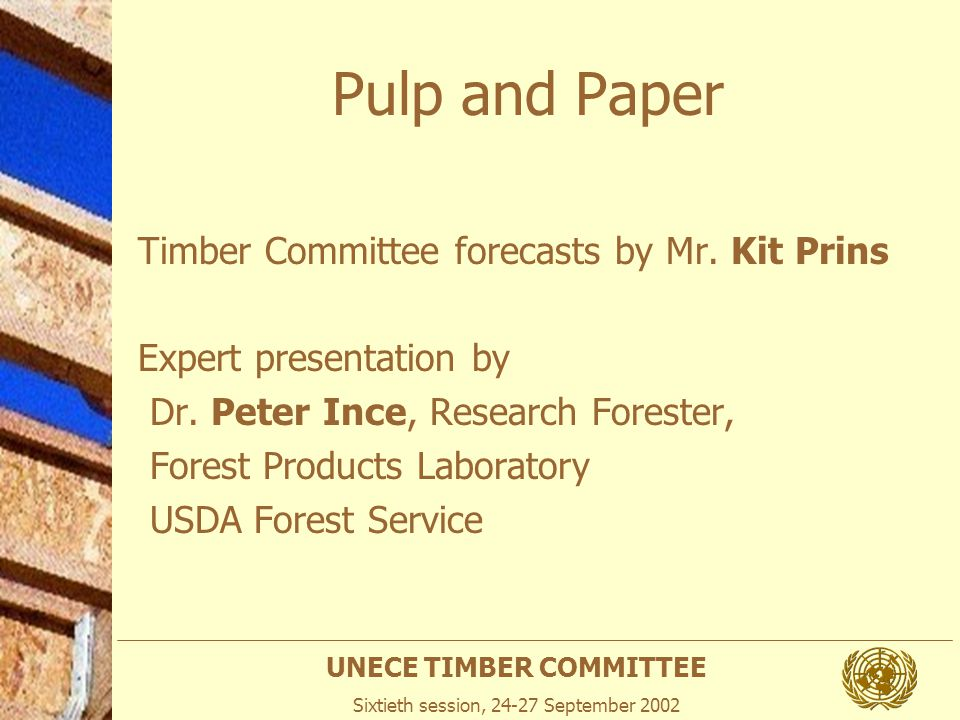 UNECE TIMBER COMMITTEE Sixtieth session, 24-27 September 2002 Pulp and Paper Timber Committee forecasts by Mr. Kit Prins Expert presentation by Dr. Pe