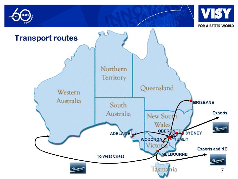 7BRISBANE SYDNEY MELBOURNE WODONGA TUMUT OBERON ADELAIDE Exports Exports and NZ To West Coast Transport routes