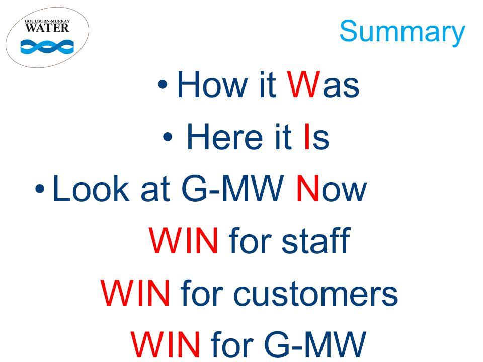 Summary How it Was Here it Is Look at G-MW Now WIN for staff WIN for customers WIN for G-MW