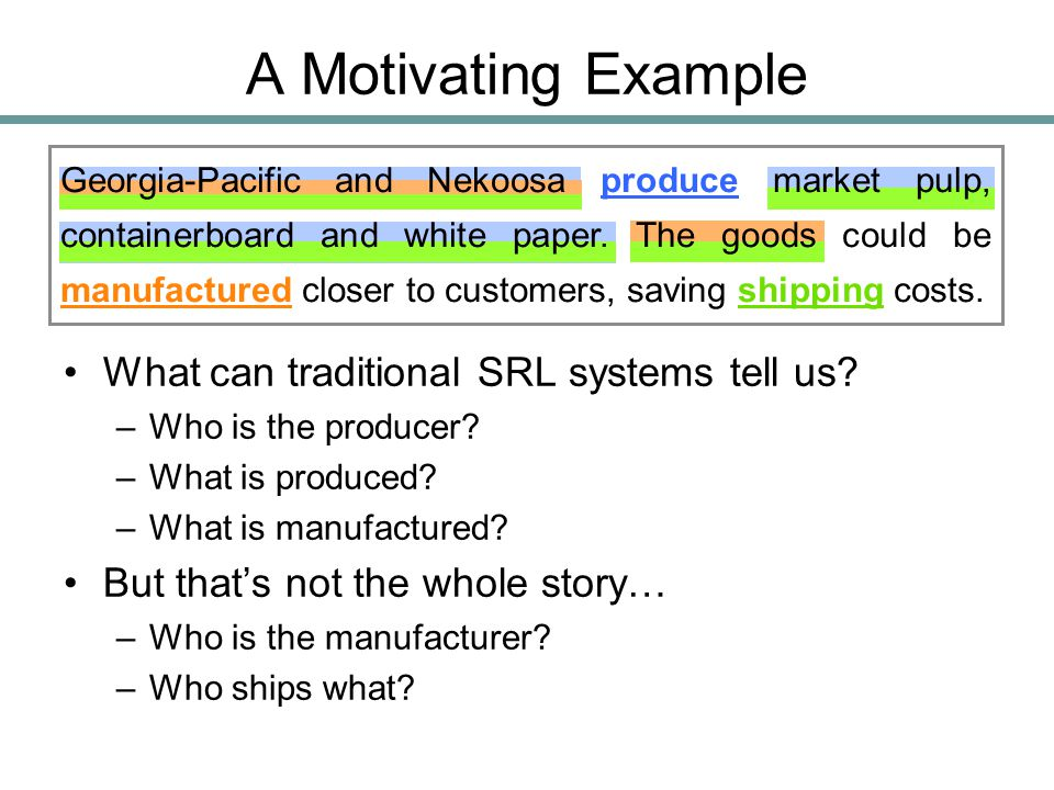 A Motivating Example What can traditional SRL systems tell us? –Who is the producer? –What is produced? –What is manufactured? But that's not the whol