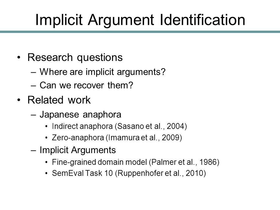 Implicit Argument Identification Research questions –Where are implicit arguments.