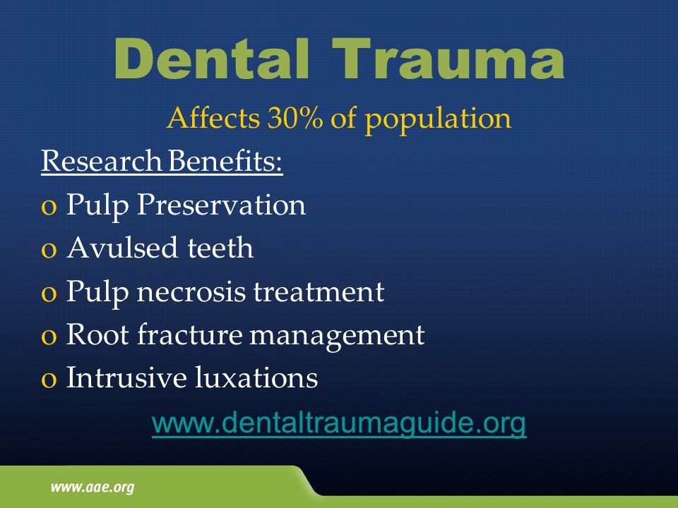 Dental Trauma Affects 30% of population Research Benefits: oPulp Preservation oAvulsed teeth oPulp necrosis treatment oRoot fracture management oIntrusive luxations www.dentaltraumaguide.org