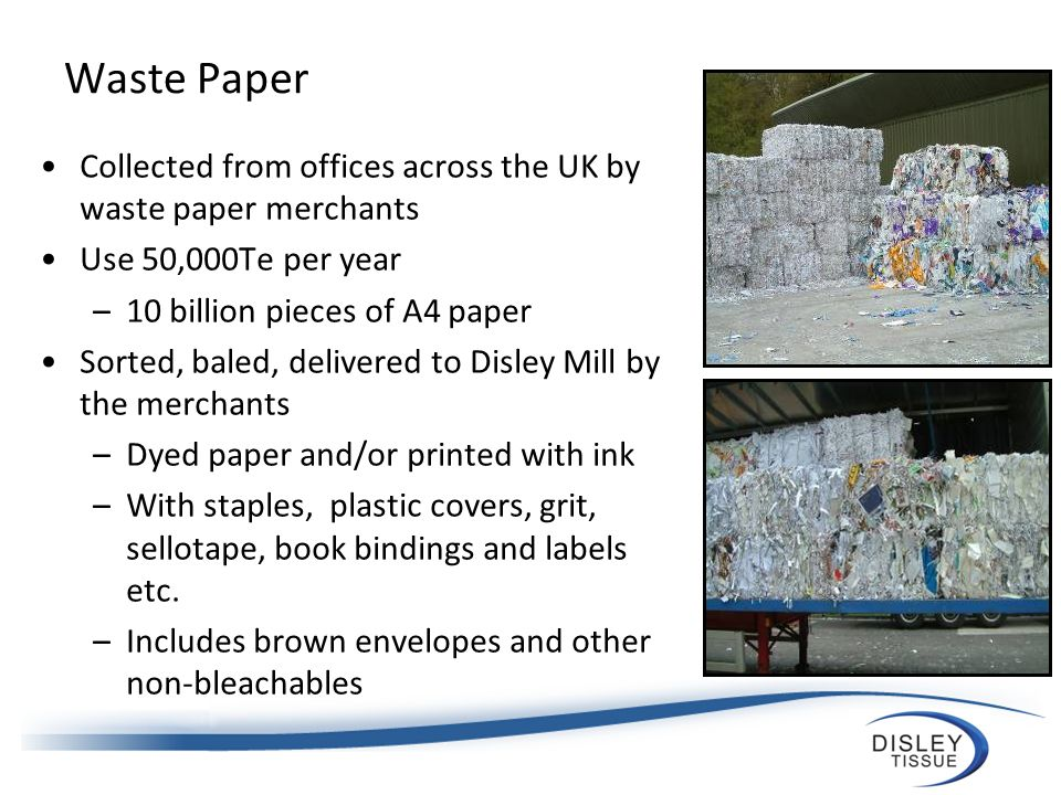 How paper is made The waste paper is loaded onto a conveyor belt ready to be carried to the pulper.