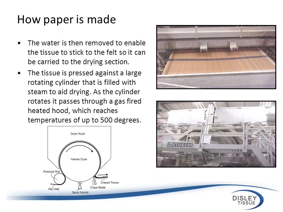 How paper is made When the tissue is dry it needs to be removed from the cylinder; this is done by using steel blades.