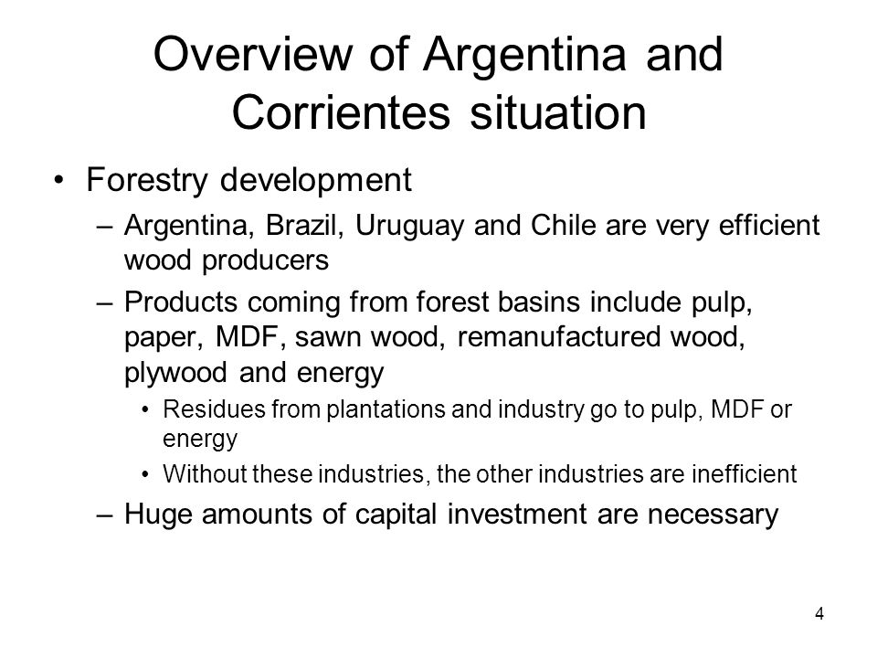4 Overview of Argentina and Corrientes situation Forestry development –Argentina, Brazil, Uruguay and Chile are very efficient wood producers –Products coming from forest basins include pulp, paper, MDF, sawn wood, remanufactured wood, plywood and energy Residues from plantations and industry go to pulp, MDF or energy Without these industries, the other industries are inefficient –Huge amounts of capital investment are necessary