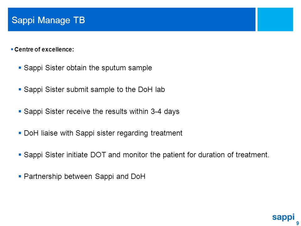 9 Sappi Manage TB  Centre of excellence:  Sappi Sister obtain the sputum sample  Sappi Sister submit sample to the DoH lab  Sappi Sister receive t