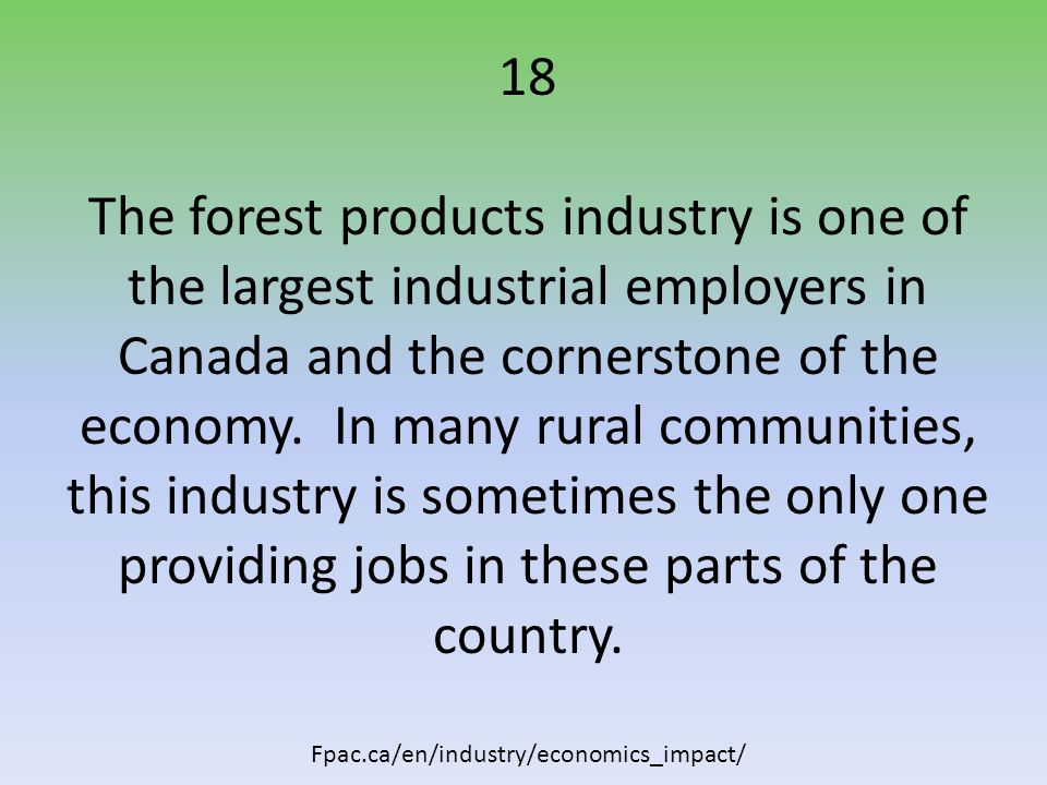 18 The forest products industry is one of the largest industrial employers in Canada and the cornerstone of the economy.