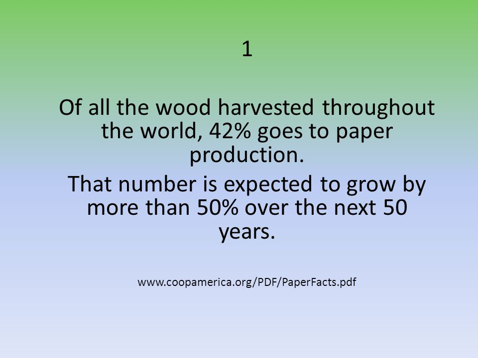 1 Of all the wood harvested throughout the world, 42% goes to paper production.