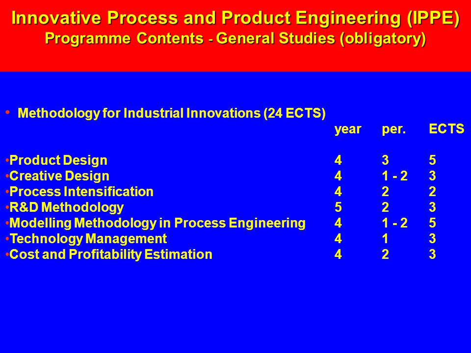 Methodology for Industrial Innovations (24 ECTS) yearper.ECTS Product Design435 Creative Design41 - 23 Process Intensification422 R&D Methodology523 Modelling Methodology in Process Engineering41 - 25 Technology Management413 Cost and Profitability Estimation423 Innovative Process and Product Engineering (IPPE) Programme Contents - General Studies (obligatory)