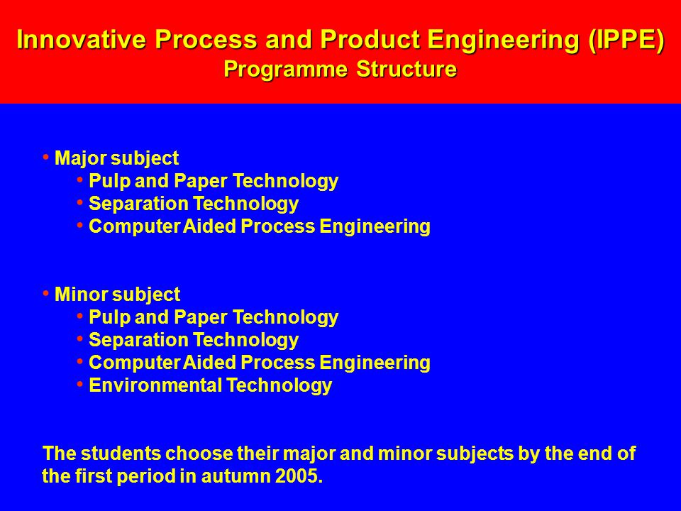 Major subject Pulp and Paper Technology Separation Technology Computer Aided Process Engineering Minor subject Pulp and Paper Technology Separation Technology Computer Aided Process Engineering Environmental Technology The students choose their major and minor subjects by the end of the first period in autumn 2005.