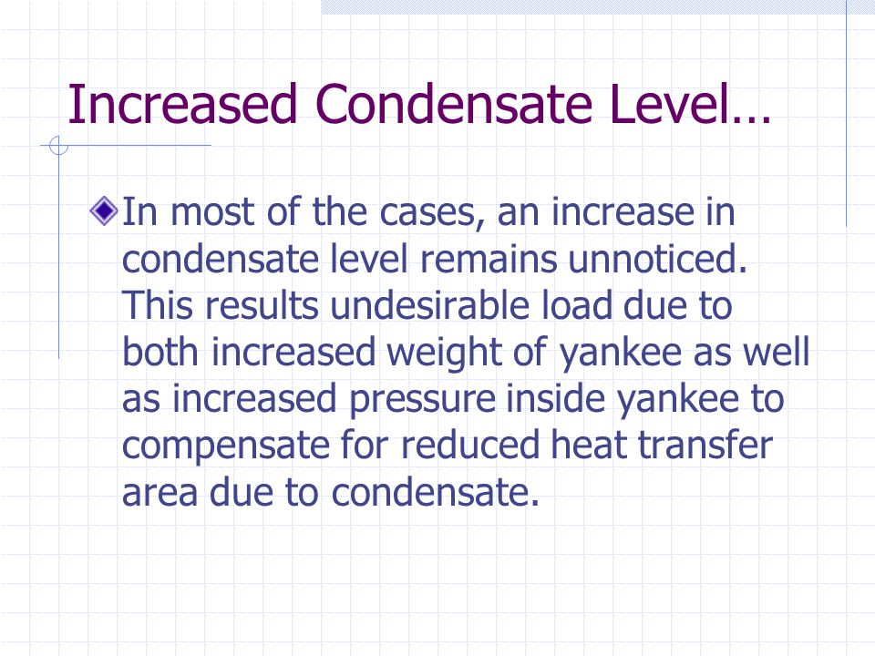 Increased Condensate Level… In most of the cases, an increase in condensate level remains unnoticed.
