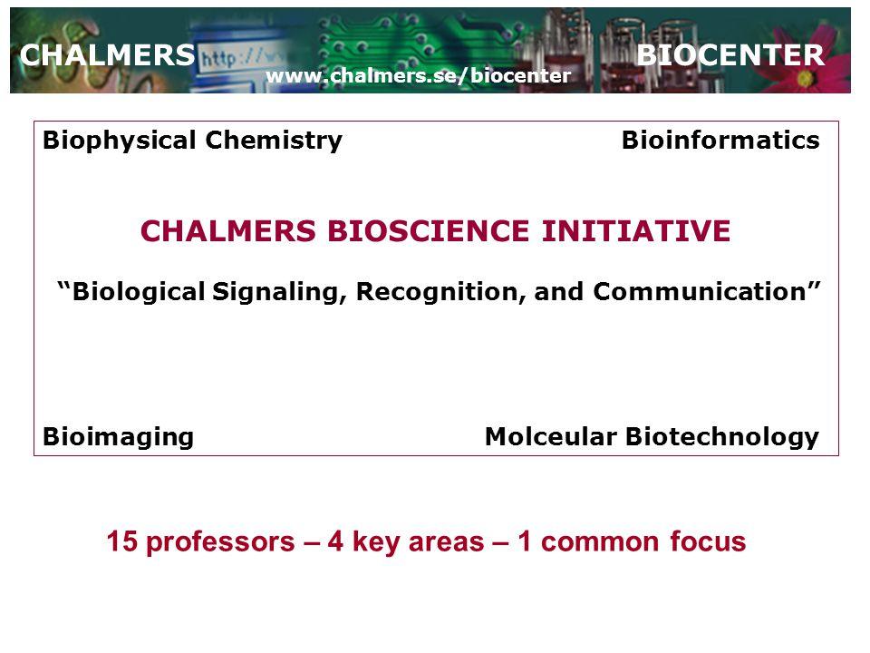 "Biophysical ChemistryBioinformatics CHALMERS BIOSCIENCE INITIATIVE ""Biological Signaling, Recognition, and Communication"" BioimagingMolceular Biotechn"