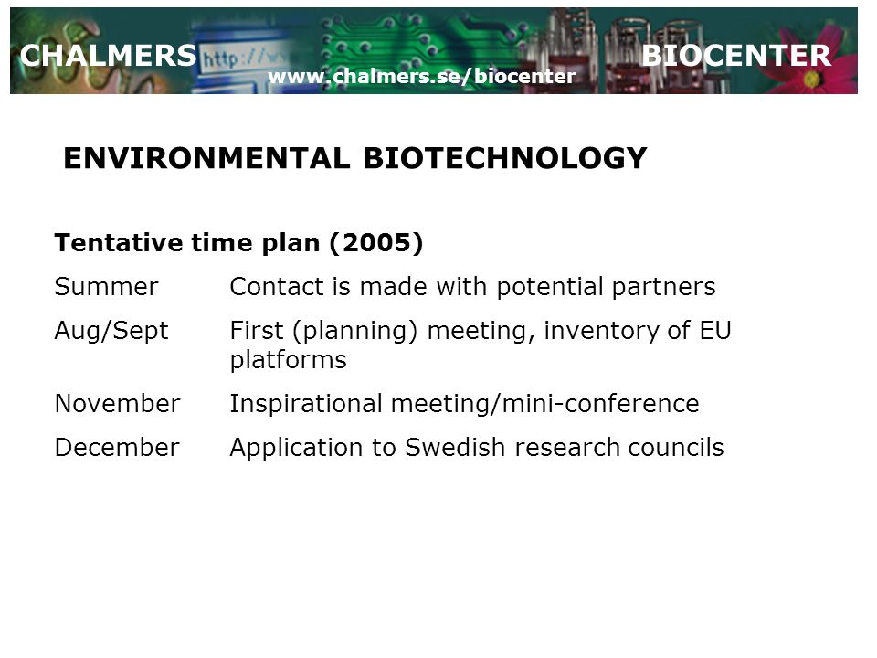 CHALMERSBIOCENTER ENVIRONMENTAL BIOTECHNOLOGY Tentative time plan (2005) SummerContact is made with potential partners Aug/SeptFirst (planning) meeting, inventory of EU platforms NovemberInspirational meeting/mini-conference DecemberApplication to Swedish research councils www.chalmers.se/biocenter