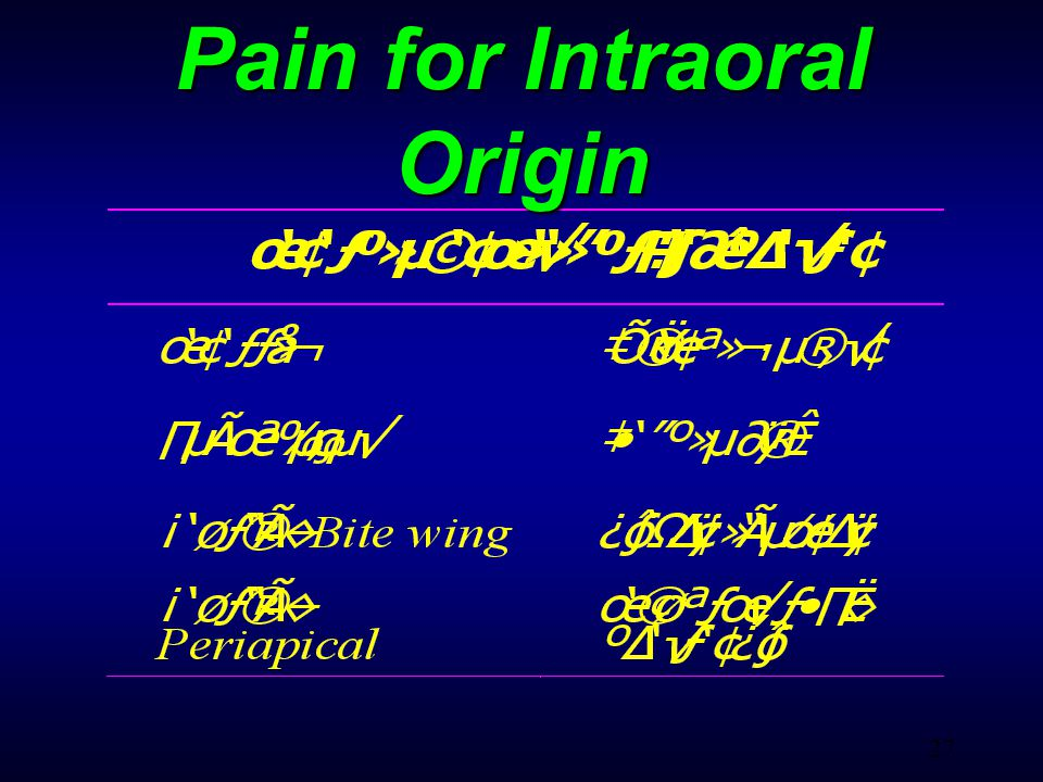 27 Pain for Intraoral Origin