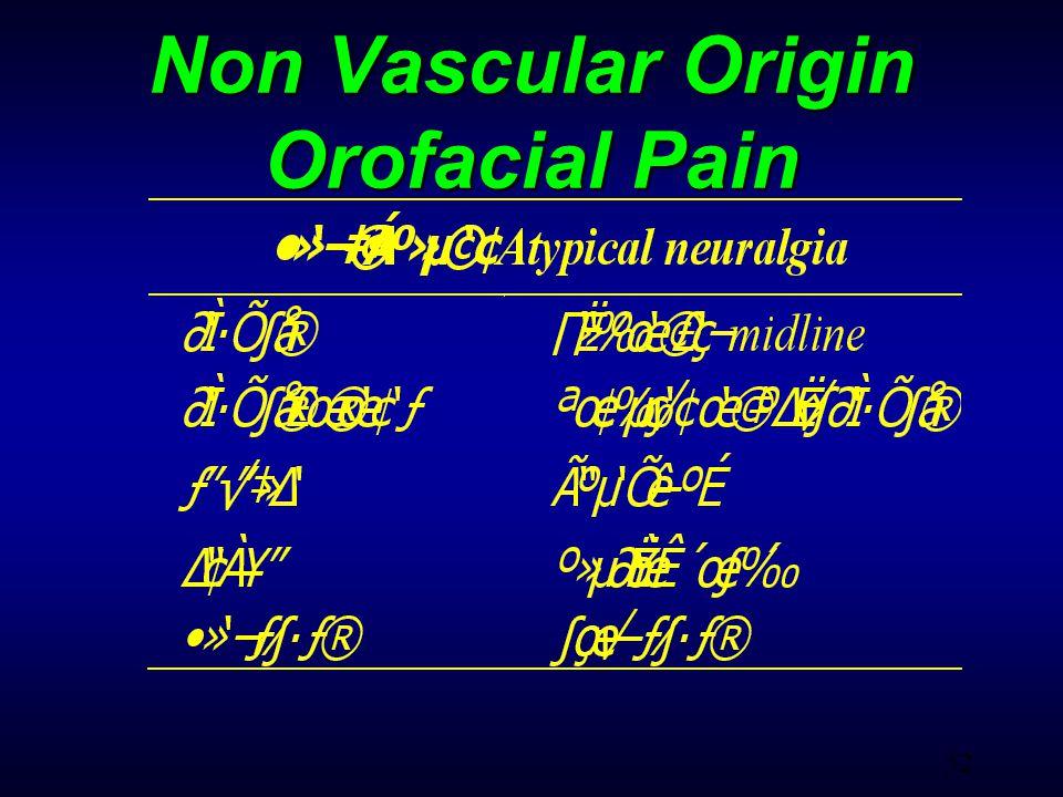 52 Non Vascular Origin Orofacial Pain