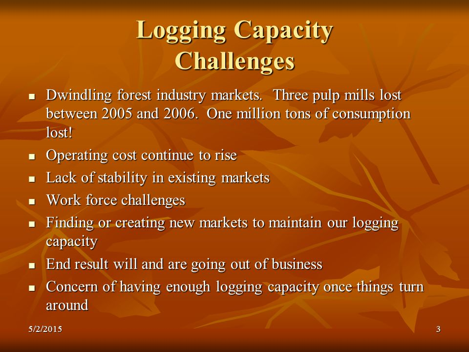 Logging Capacity Challenges Dwindling forest industry markets.