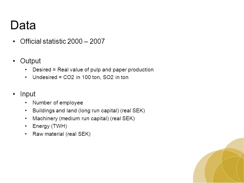Data Official statistic 2000 – 2007 Output Desired = Real value of pulp and paper production Undesired = CO2 in 100 ton, SO2 in ton Input Number of em