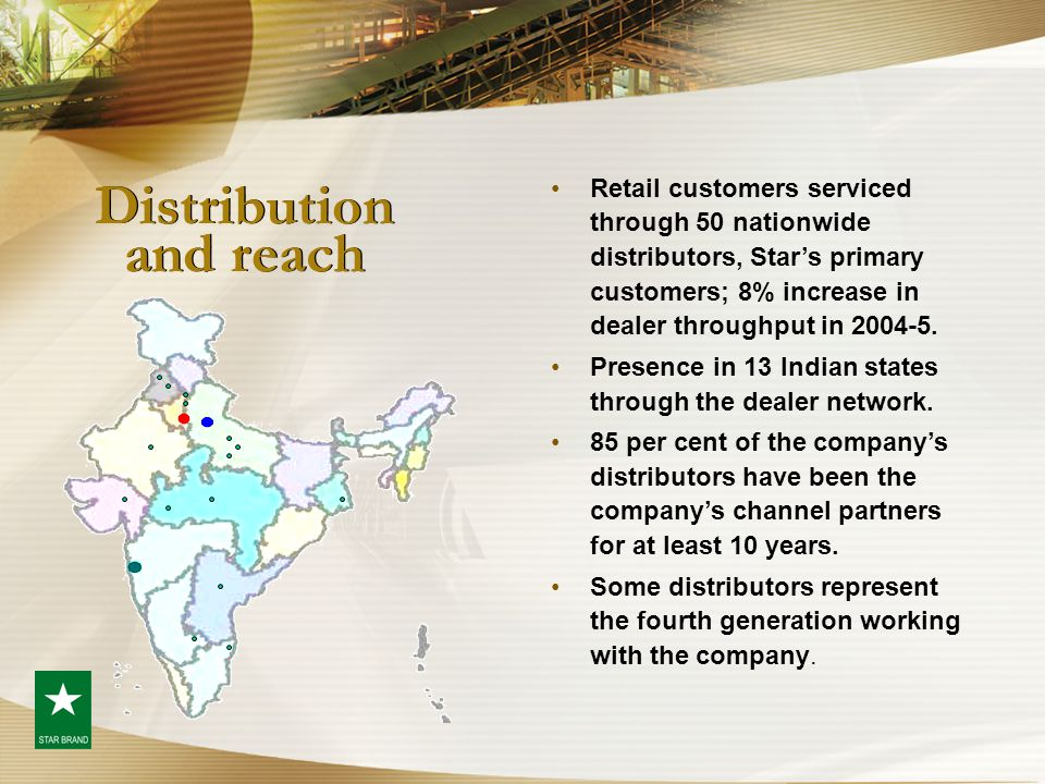 Distribution and reach Retail customers serviced through 50 nationwide distributors, Star's primary customers; 8% increase in dealer throughput in 200