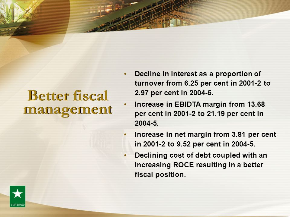 Better fiscal management Decline in interest as a proportion of turnover from 6.25 per cent in 2001-2 to 2.97 per cent in 2004-5. Increase in EBIDTA m