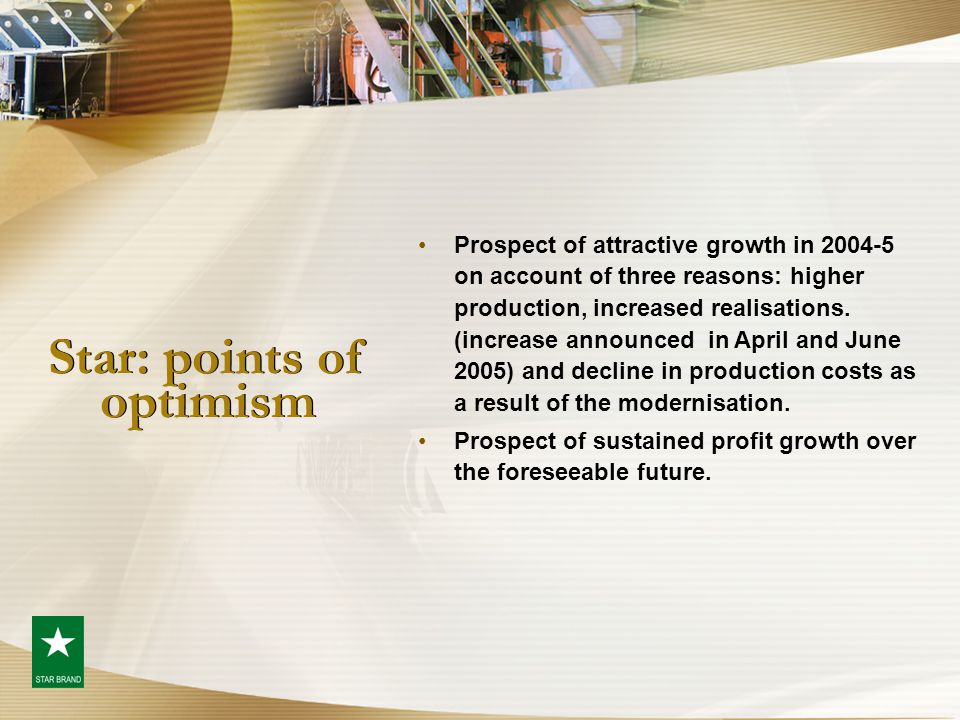 Star: points of optimism Prospect of attractive growth in 2004-5 on account of three reasons: higher production, increased realisations. (increase ann