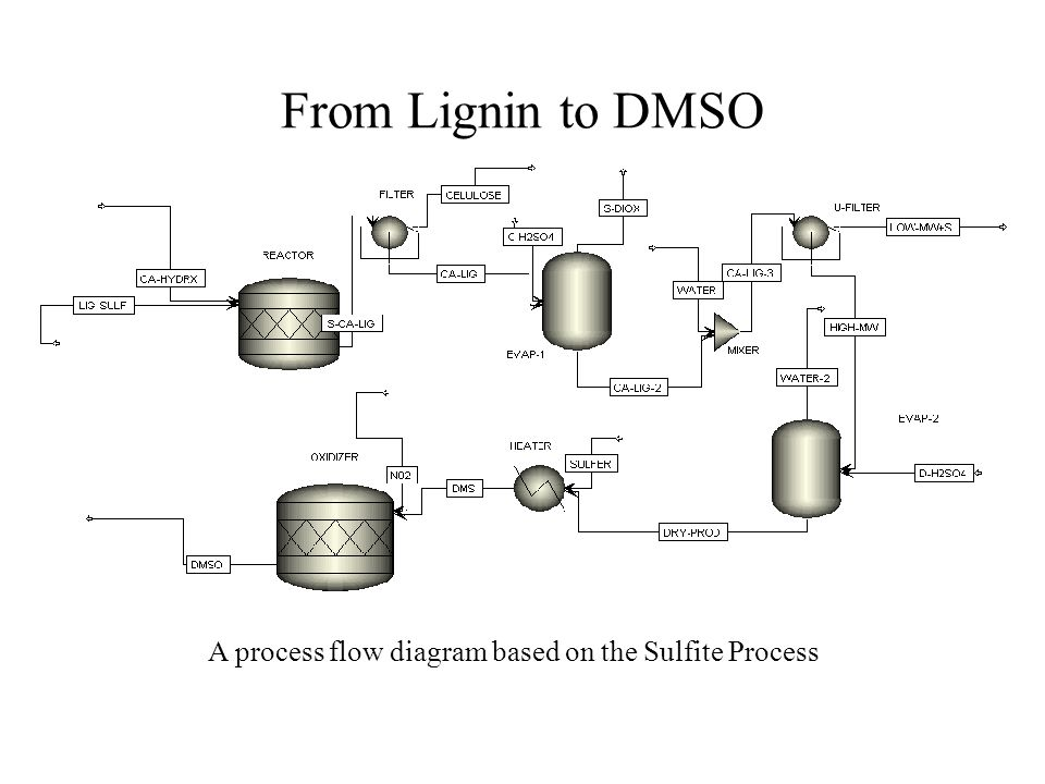 From Lignin to DMSO A process flow diagram based on the Sulfite Process