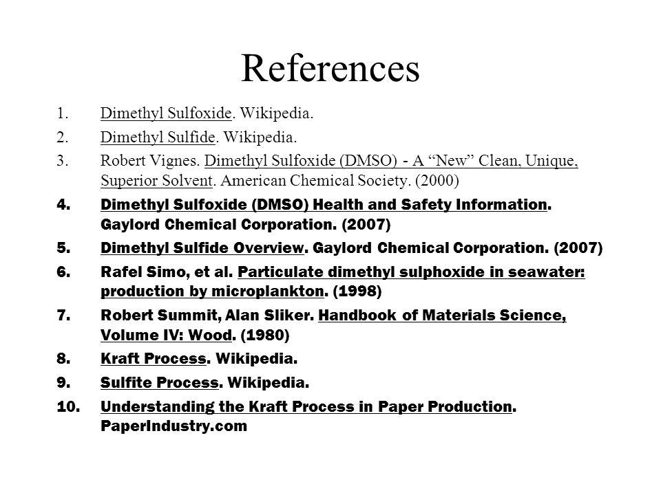 References 1.Dimethyl Sulfoxide. Wikipedia. 2.Dimethyl Sulfide.