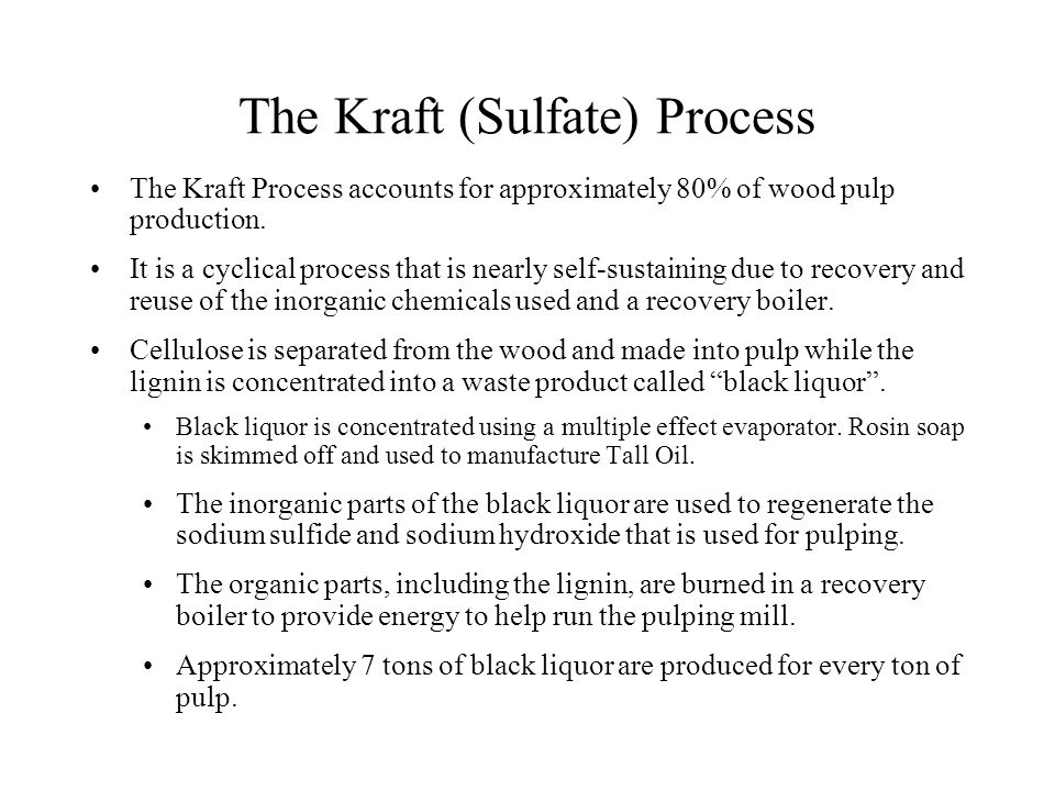 The Kraft Process (cont.) Continuous Kraft Paper Mill