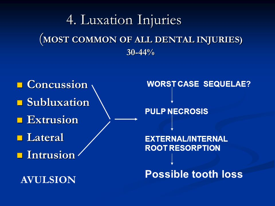 4. Luxation Injuries ( MOST COMMON OF ALL DENTAL INJURIES) 30-44% Concussion Concussion Subluxation Subluxation Extrusion Extrusion Lateral Lateral In