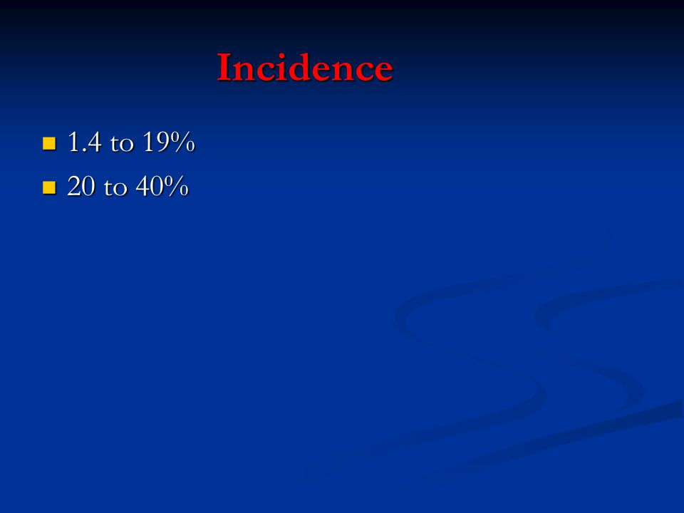 Incidence 1.4 to 19% 1.4 to 19% 20 to 40% 20 to 40%