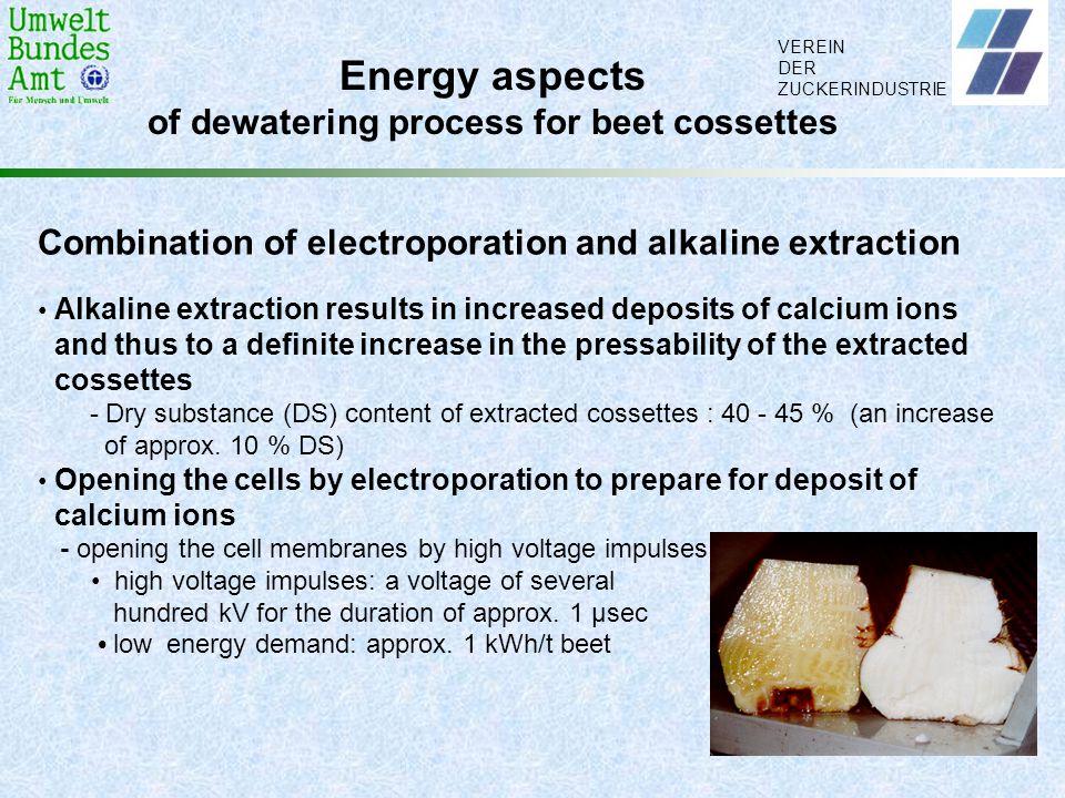 VEREIN DER ZUCKERINDUSTRIE Energy aspects of dewatering process for beet cossettes Combination of electroporation and alkaline extraction Alkaline ext
