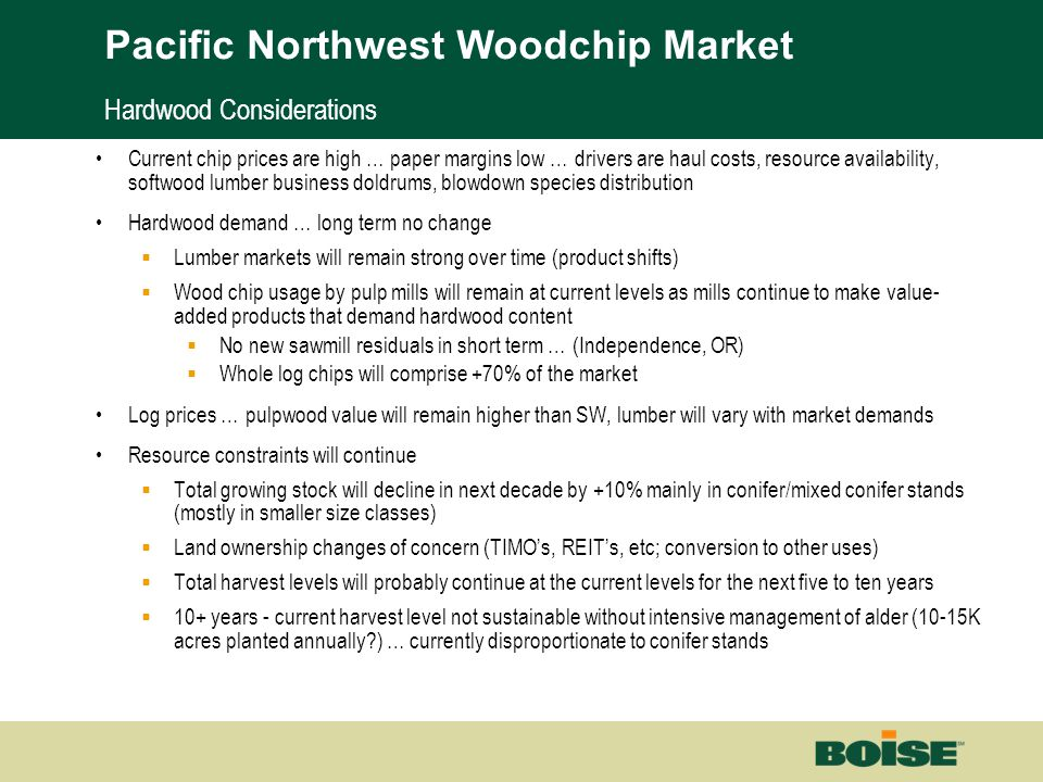 Boise | Building a New BoiseNet Page 27 Hardwood Considerations Current chip prices are high … paper margins low … drivers are haul costs, resource av